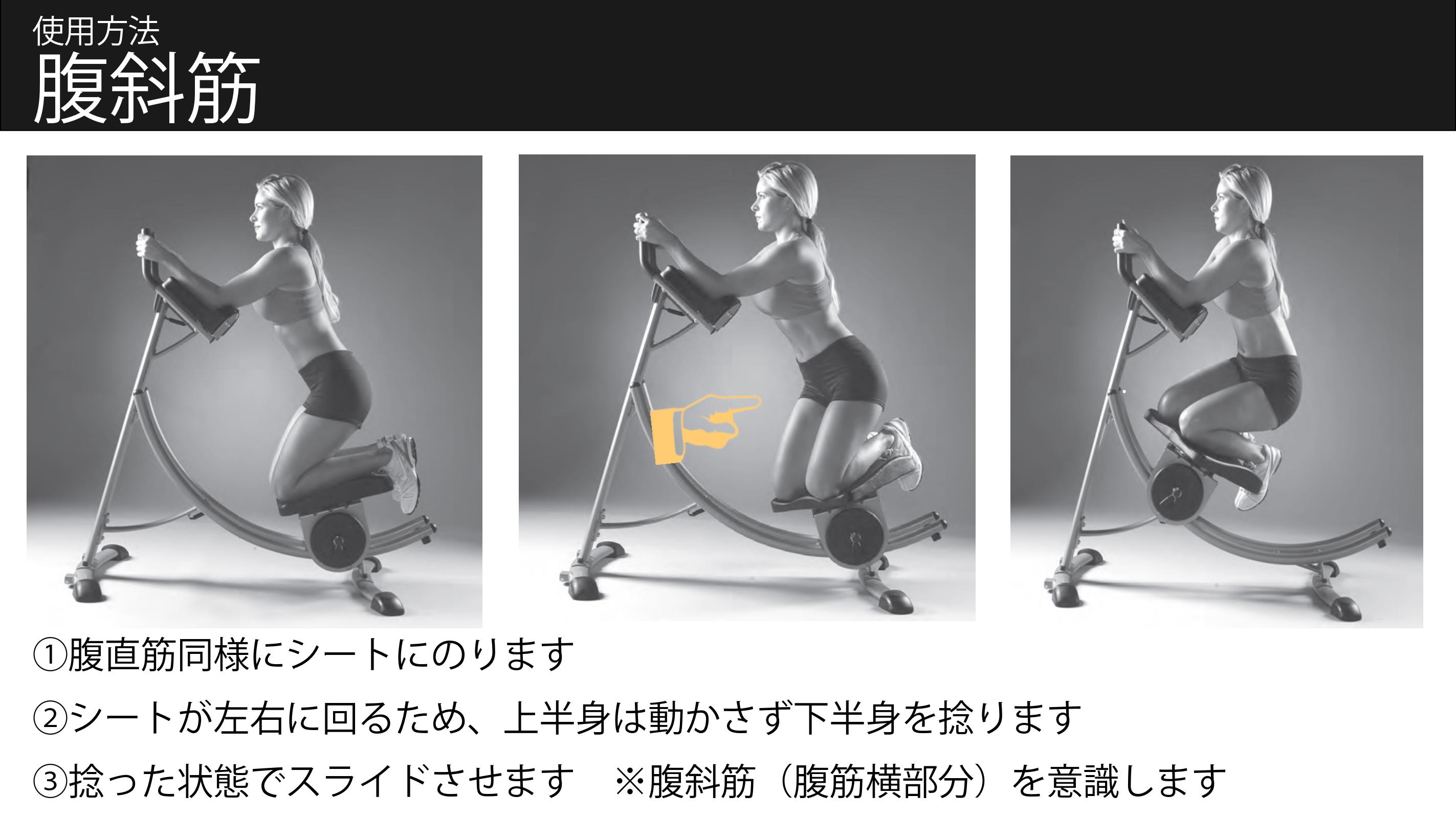 腹筋トレーニングマシン アブコースター 使用方法 腹斜筋(abcoaster)