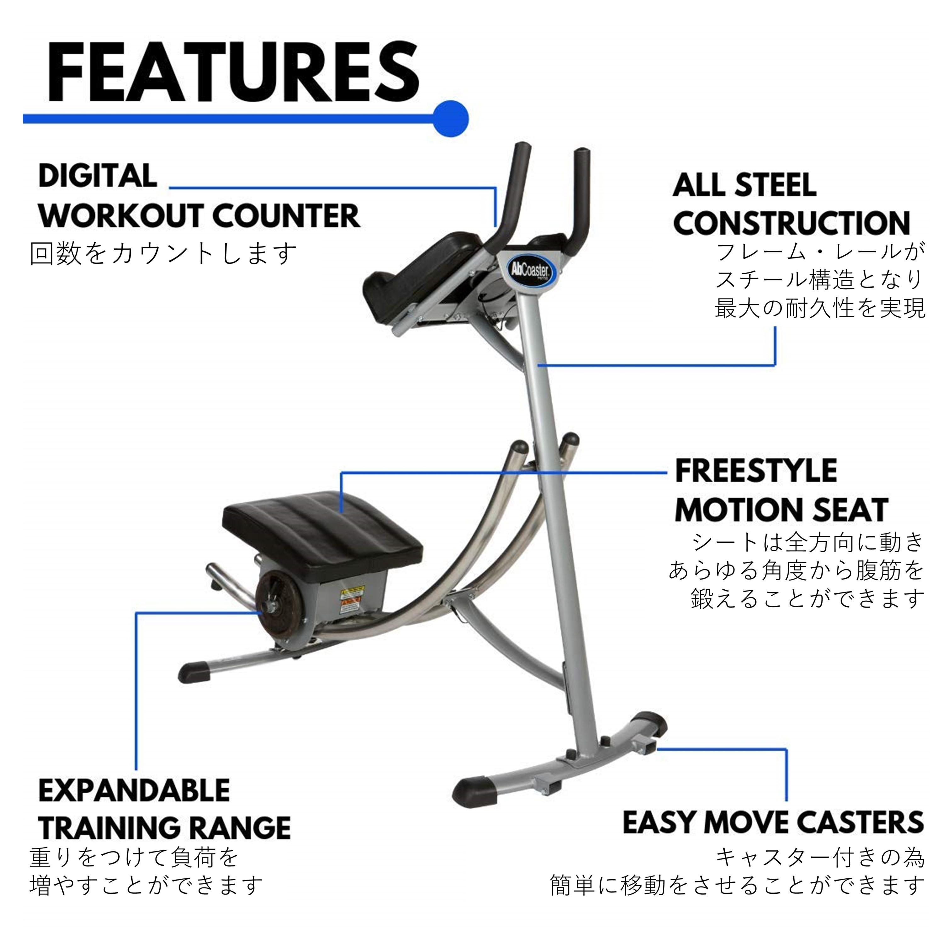 腹筋トレーニングマシン アブコースター 説明図